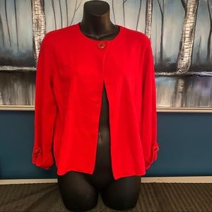 Anthropologie Red Peplum One Button Cardigan Small